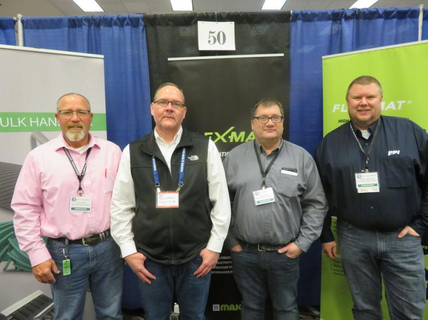(L-R): Terry Macklin of American State Equipment Co.; Tom Costello of Major Wire; Don Gregorius of American State Equipment Co.; and Brian Gantenbein of Precision Pulley & Idler.