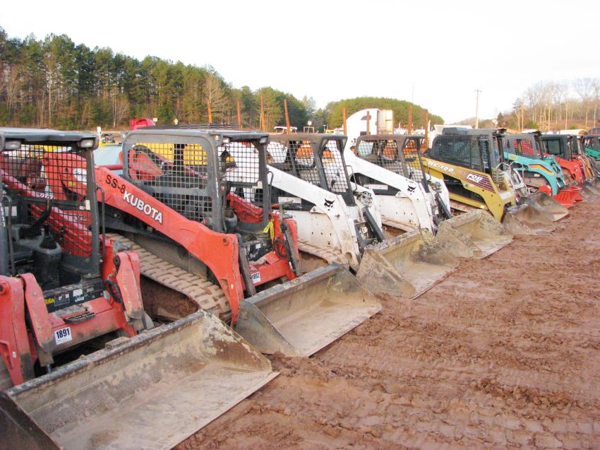 A tremendous variety of compact track loaders, all sizes-all colors, were available to the highest bidder.