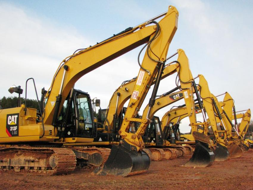 A lineup of Cat excavators was up for sale at the auction.