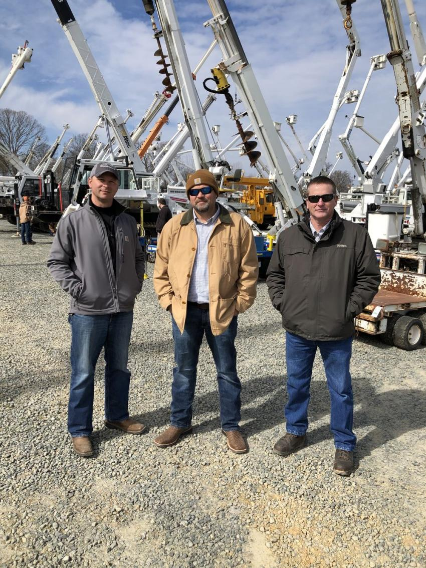 (L-R): Ivan Whitfield, David Harvey and Kevin Glenn of Altec in the Carolinas take a walk among the drill rigs.