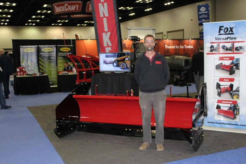 John Maurer, snow equipment sales of Michigan, Indiana and Ohio, is ready to talk about Hiniker's newest product line addition — the VersaPlow.