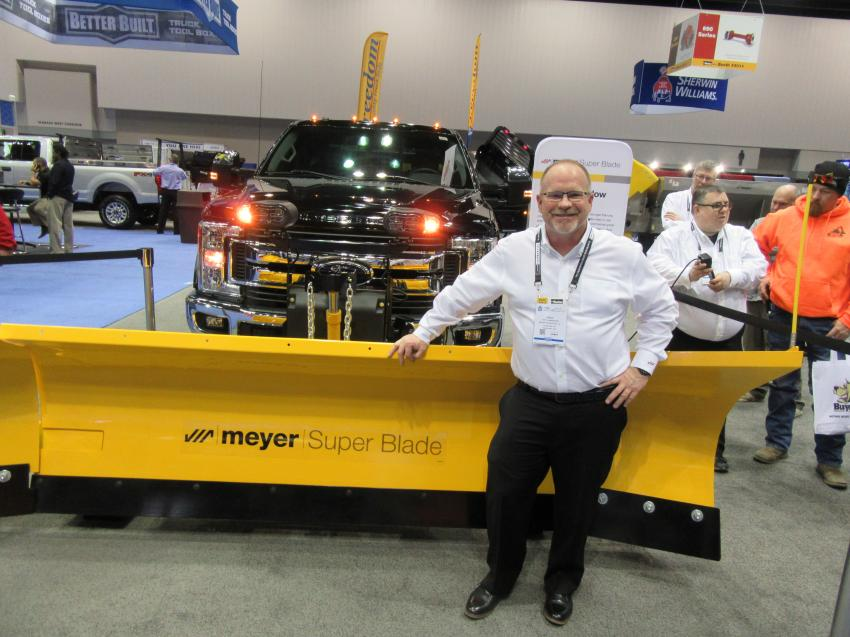Greg Blankenheim of Meyer Products LLC was on hand to discuss his company's new Super Blade expanding snowplow.