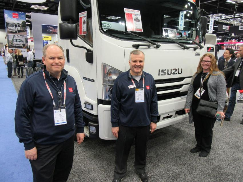 (L-R): Isuzu Commercial Truck of America's Andy Craig, Vernon Allen and Cate Thompson discussed the company's new 2020 Model FTR Class 6 low cab forward medium-duty truck.