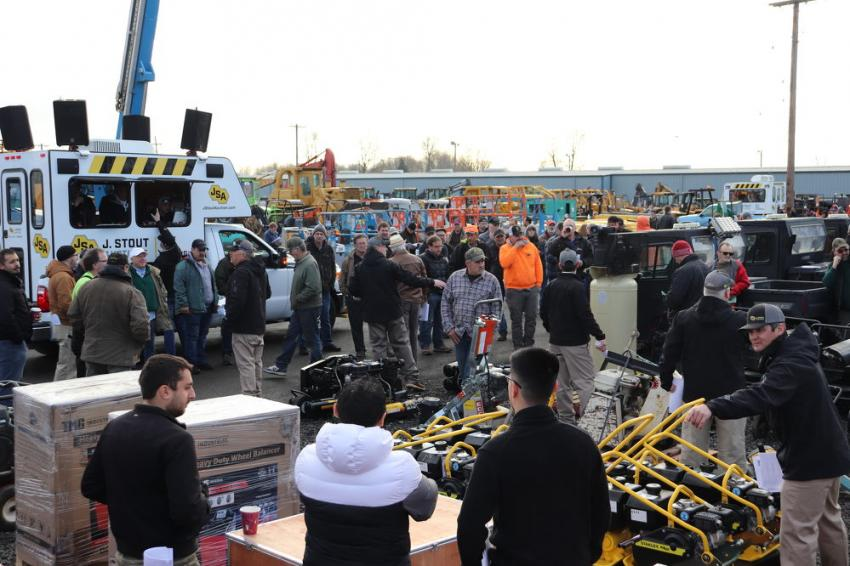 Crowds of people came out to bid on several brand-new pieces, including Stanley plate compactors and 2019 Easy-Clean Magnum 4000 pressure washers.