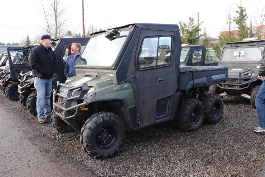 Just in time for the four-wheeling season, JSA auctioned off more than a dozen Polaris Ranger 6x6 UTVs.