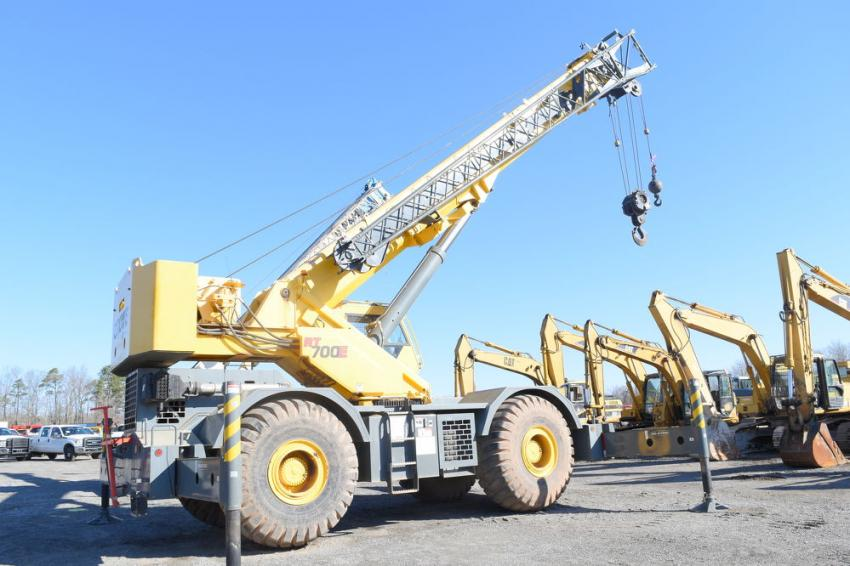 This Grove RT700E rough-terrain crane was among the diverse selection of equipment that went on the auction block.