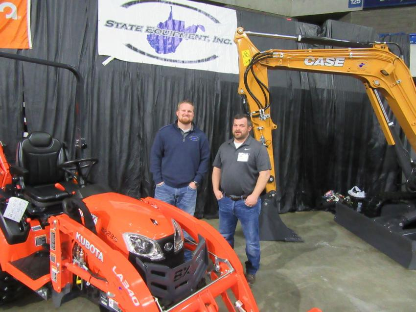 State Equipment's Seth Gardner (L) and Jimmy Cook spoke with attendees about their lineup of Case, Kubota and other equipment.