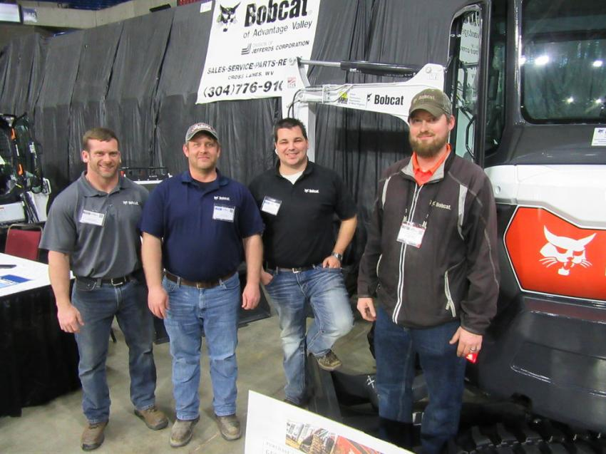 (L-R): Bobcat of Advantage Valley's Jeremy Dosier, Dustin Lewis, Devon Criss and Joshua Mills welcomed attendees to stop in at their booth to review the lineup of Bobcat machines on display.