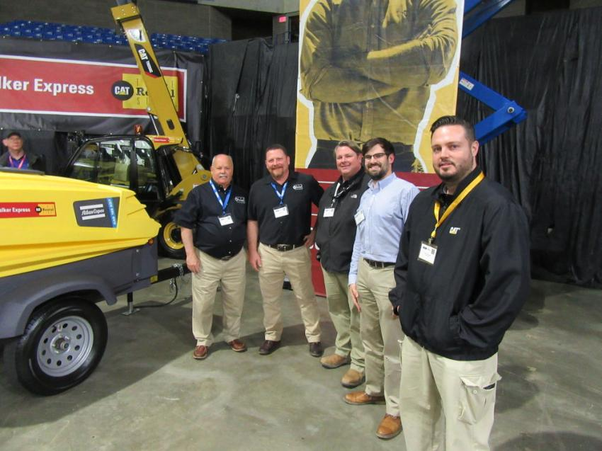 (L-R): The team from Walker Cat, including Gary Angle, Chad Stewart, Ash Kountz, Andrew Boyd and Rus Livingood, who were on hand to speak with attendees about their line of Caterpillar equipment.
