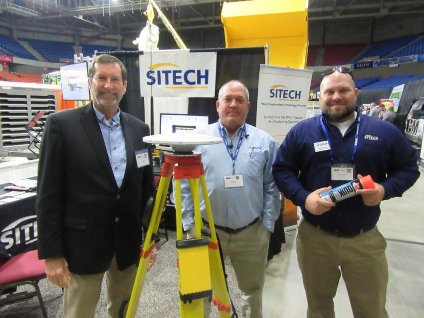 (L-R): Sitech MidSouth's J.D. Weis, Terry Fulks and Ryan White demonstrate a GPS base station and discuss site positioning and asset tracking technologies at the show.