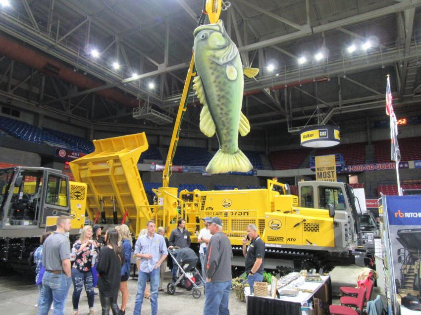 The Shafer Equipment booth lured attendees with the dealership's line of Terramac crawler carriers and a really big fish.