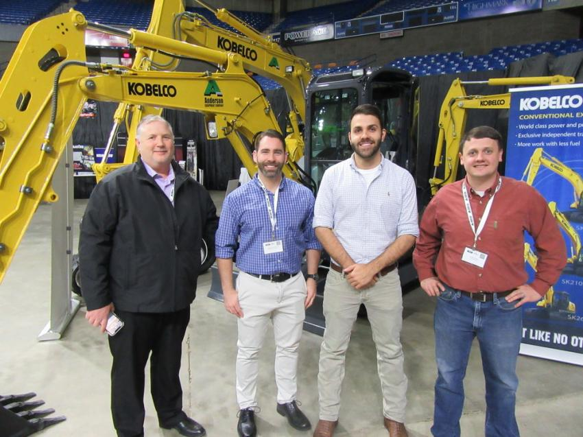(L-R): Anderson Equipment Company's Brian Hahn, Brad Coleman, Jonathan Hale and Adam Frame stayed busy speaking with attendees about their Kobelco equipment and other lines.