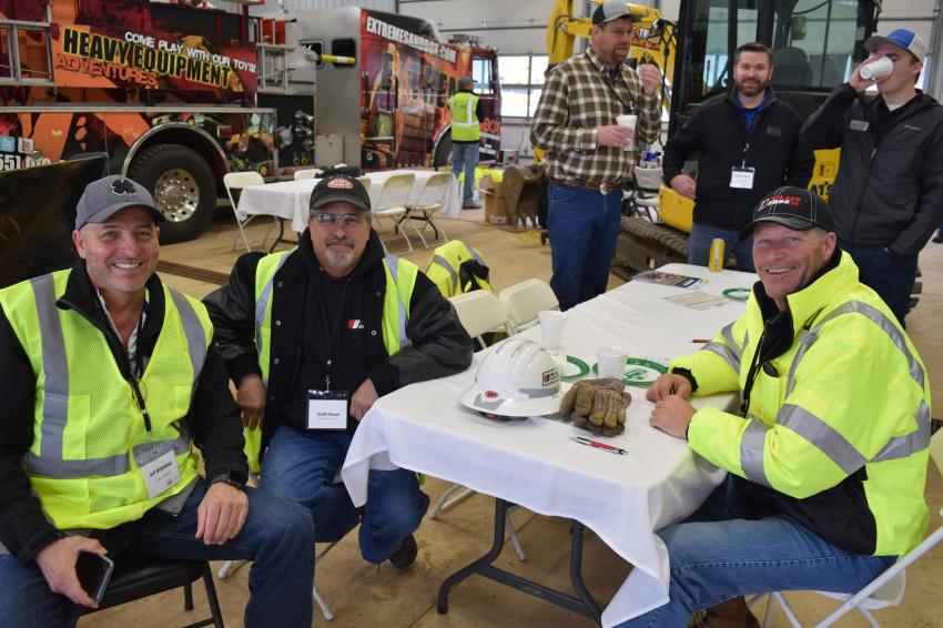 (L-R): Jeff Bistodeau, Road Machinery & Supplies Co.; Scott Rouse, Ulland Brothers Inc.; and Brad Jahnke, Ulland Brothers Inc.