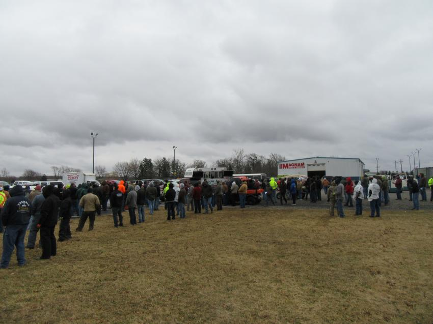 A huge crowd of auction attendees showed up in Lima, Ohio, for Yoder & Frey's Magnam Truck & Equipment auction.