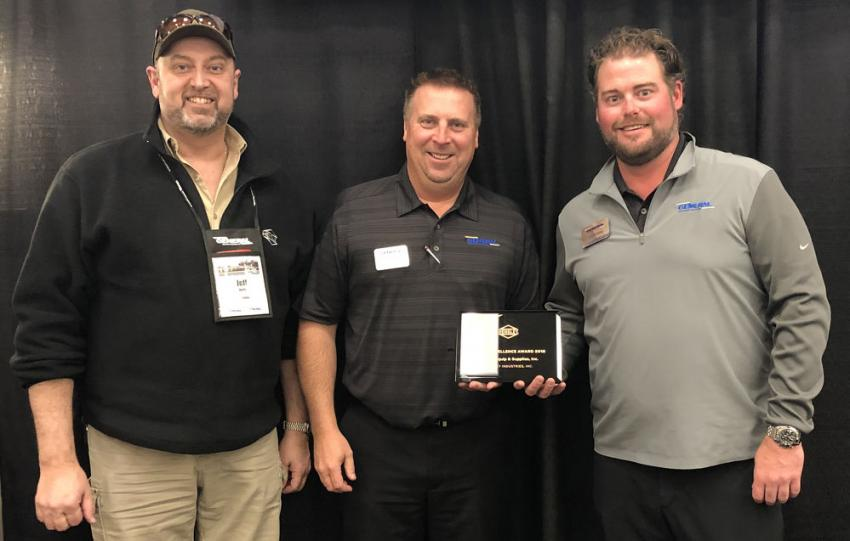 (L-R): Jeff Kurtz, regional sales manager of Hensley and Steve Berdan and Jon Shilling of General Equipment & Supplies, receive an Excellence Award.