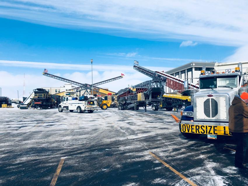 More than 70 pieces of aggregate and support equipment were featured in the display in the hotel parking lot.