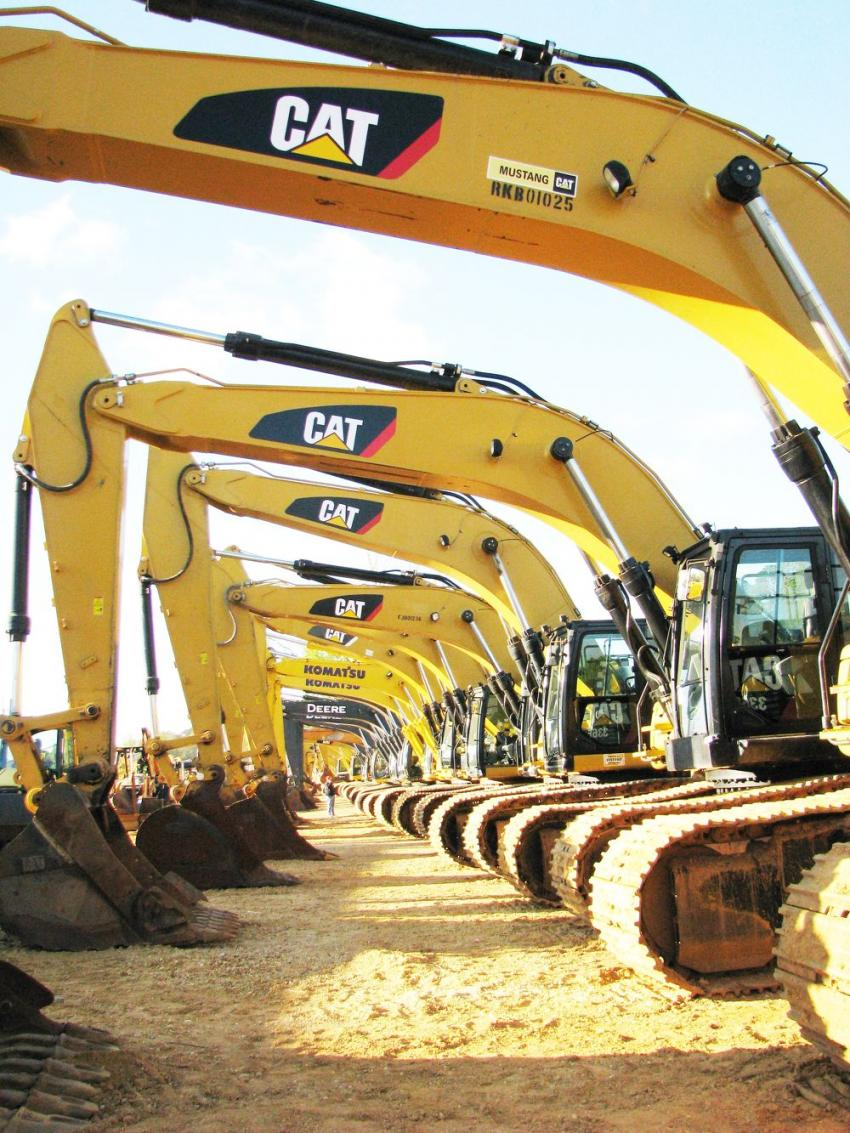 A large lineup of excavators was available at the sale.