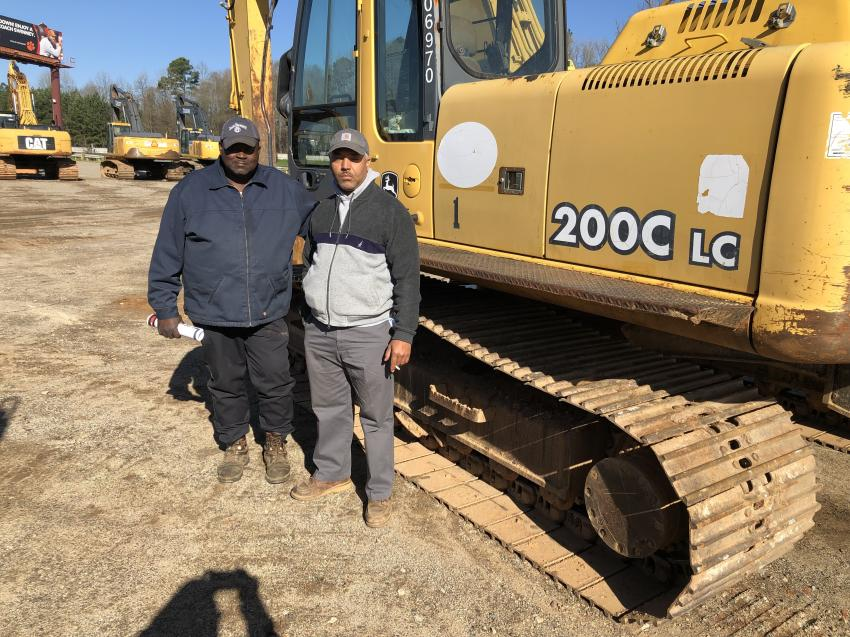 Raymond Palmer (L) of Palmer Trucking in Blythewood, S.C., and Stefan Harris of Harris Transport in Ridgeway, S.C., were looking for an excavator they needed for a current project.