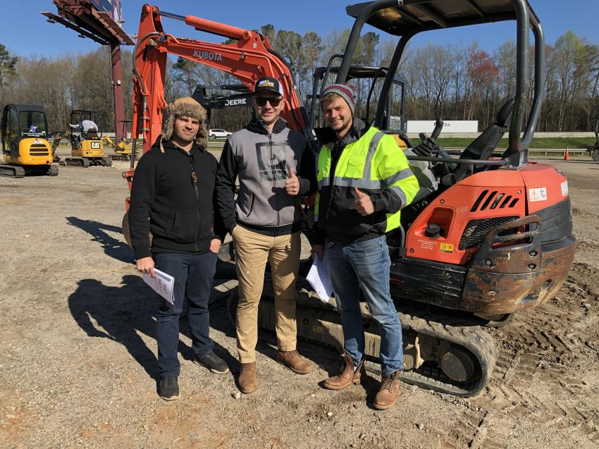 (L-R): Dan Kudyrko, Alex Bezzubets and Max Metelski of KDM Machinery in Columbia were optimistic they would be able to bring home a Kubota excavator.