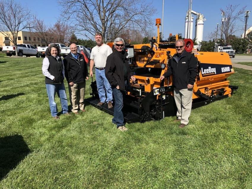 Gathered around the top-selling LeeBoy 8500D asphalt paver (L-R) are Kristin Parker, Ascendum Machinery; Mark Bolick, LeeBoy; Blake Lawing and Randy Walden of Lawing Asphalt Paving & Construction Inc. in Mooresville, N.C.; and Bryce Davis, LeeBoy.