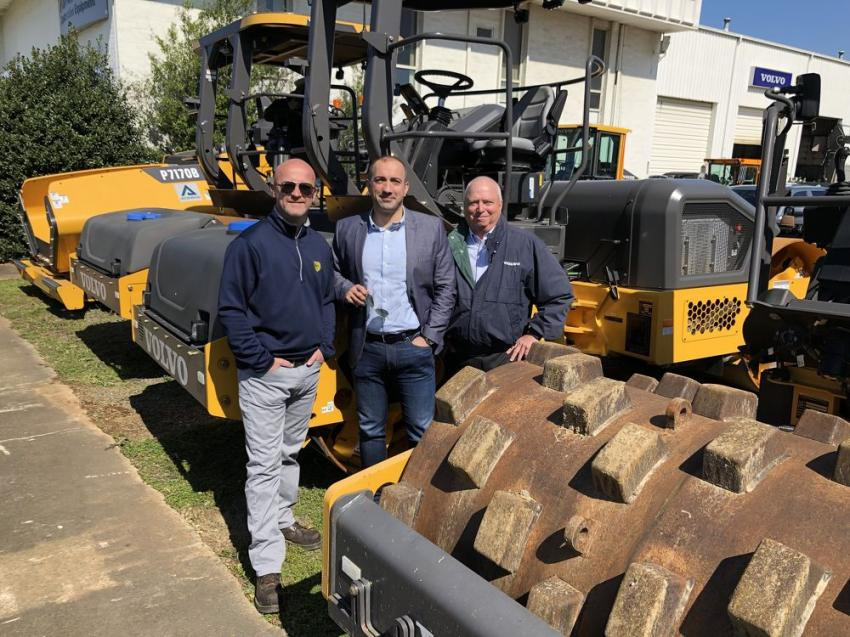 (L-R) are Velibor Mijanovic of Blythe Brothers Asphalt; and Mario Stoilovich and Gary Atkinson both of Ascendum Machinery.