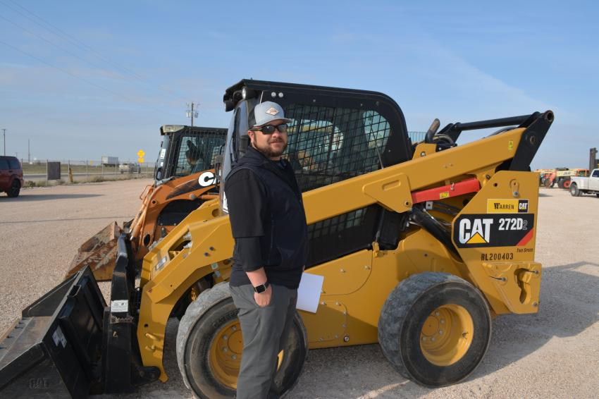 Motion Energy's Beau Chapman was impressed with the number of skid steers Iron Bound had available in Odessa. He is shown here with a Cat 272D.