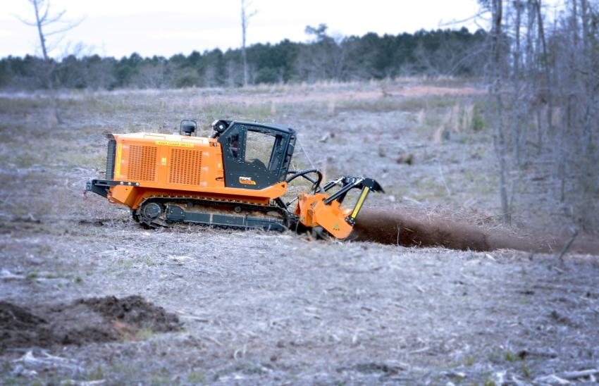 PrimeTech's PT 300 tracked carrier demonstrates what it can do with the right attachment.