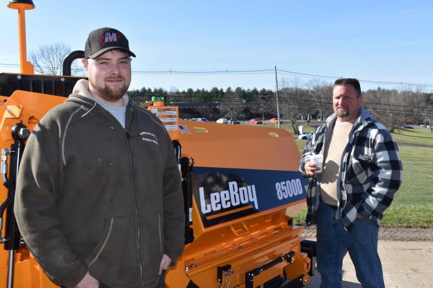 With a LeeBoy model 8500D are Lenny Dupee (L), of the town of Canton Highway Department in Canton, Conn., and Dave Coretto, of Dave's Paving in Waterbury, Conn.