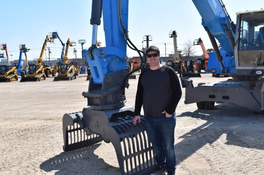 John Holt, sales representative of Global Packaging in Oaks, Pa., enjoys the spring day at the Alex Lyon & Son auction in Atlantic City.