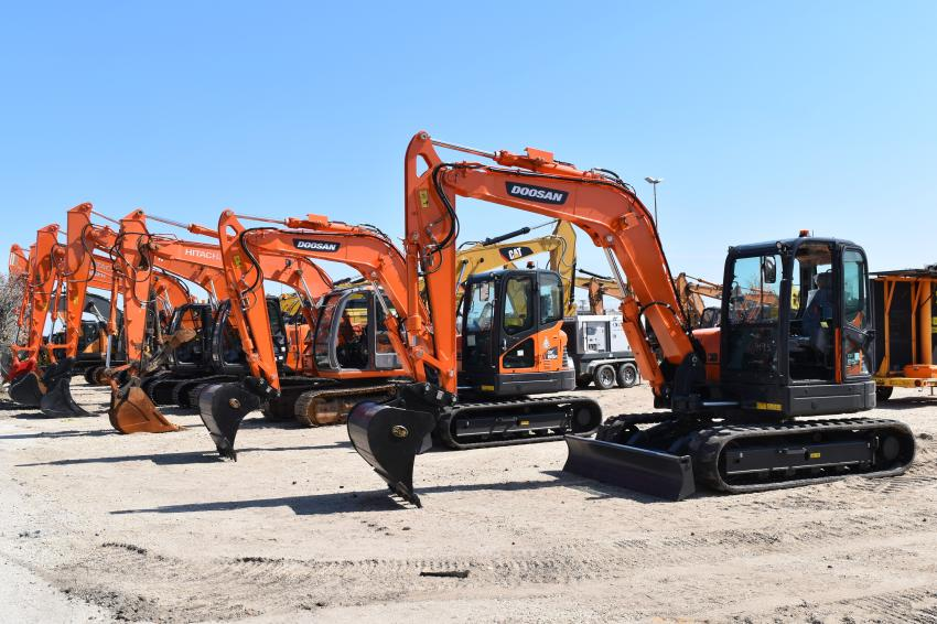 A selection of mini-excavators was available during the sale.