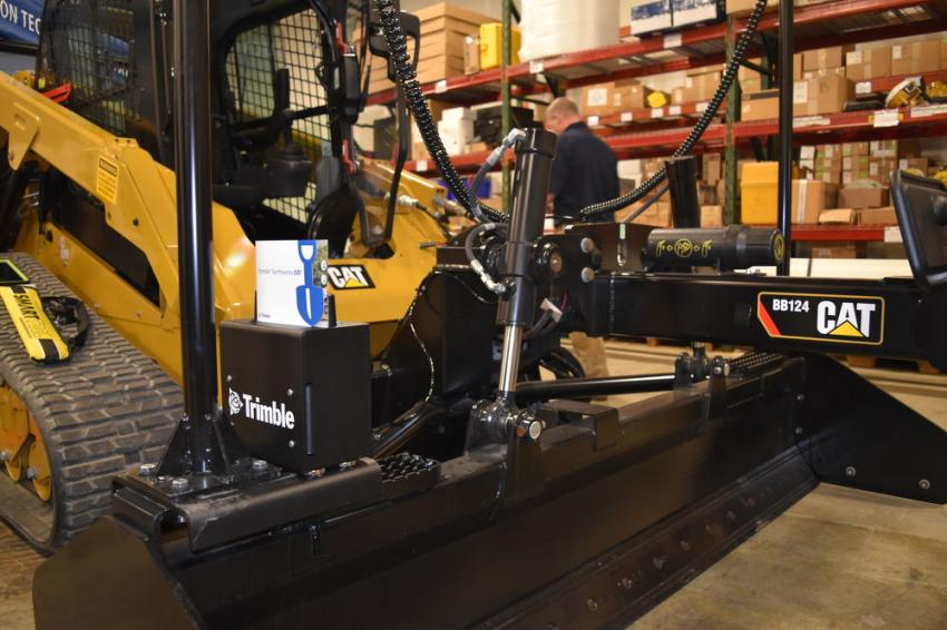 Caterpillar skid steers were outfitted with Trimble's Earthworks Grade Control System.