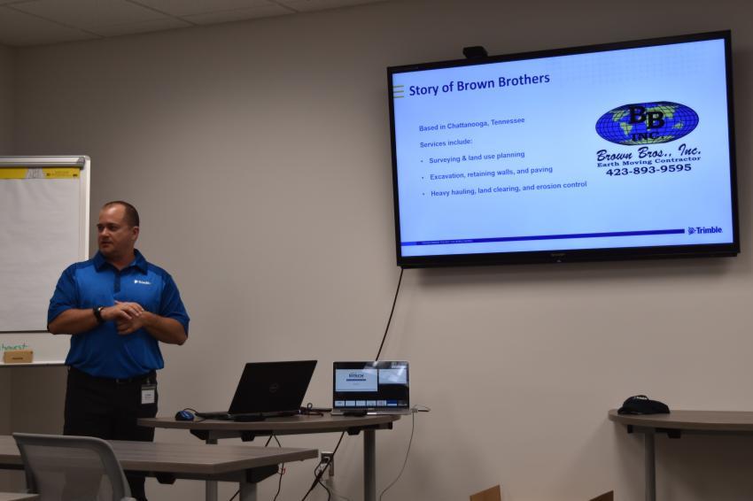 Michael Carris, software representative of Trimble, delivers his Trimble Stratus Drone software presentation in SITECH Chesapeake's new classroom area.