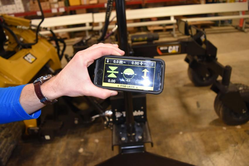 Seen here is the hand-held view of the Trimble Earthworks mobile app for skid steer operators. With an intuitive UX, smaller contractors can get the power of Trimble for an affordable price point.