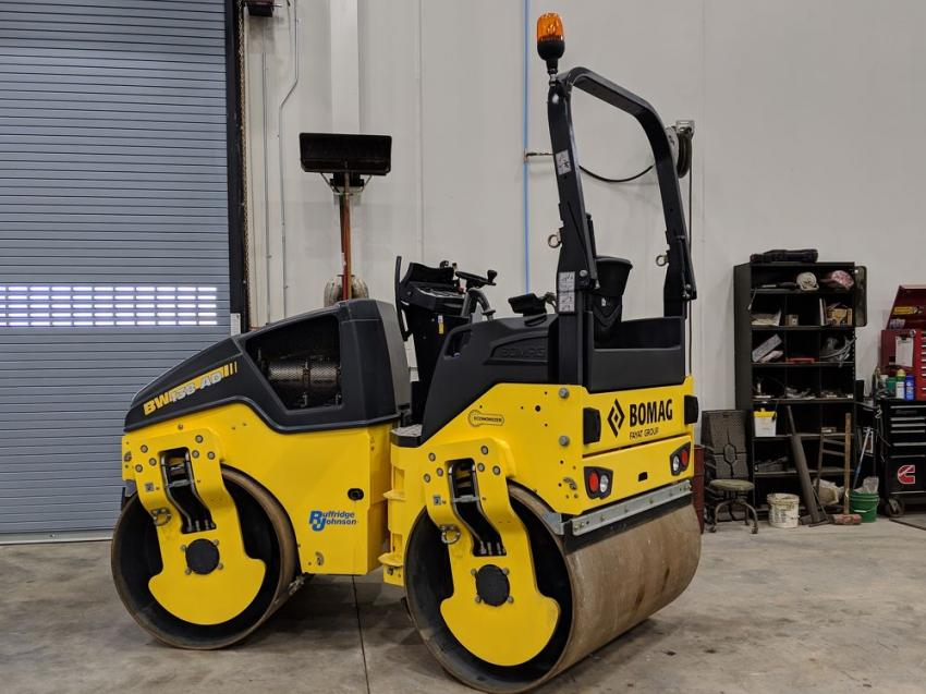 A Bomag roller was the right visual aid for a talk on compaction and paving.