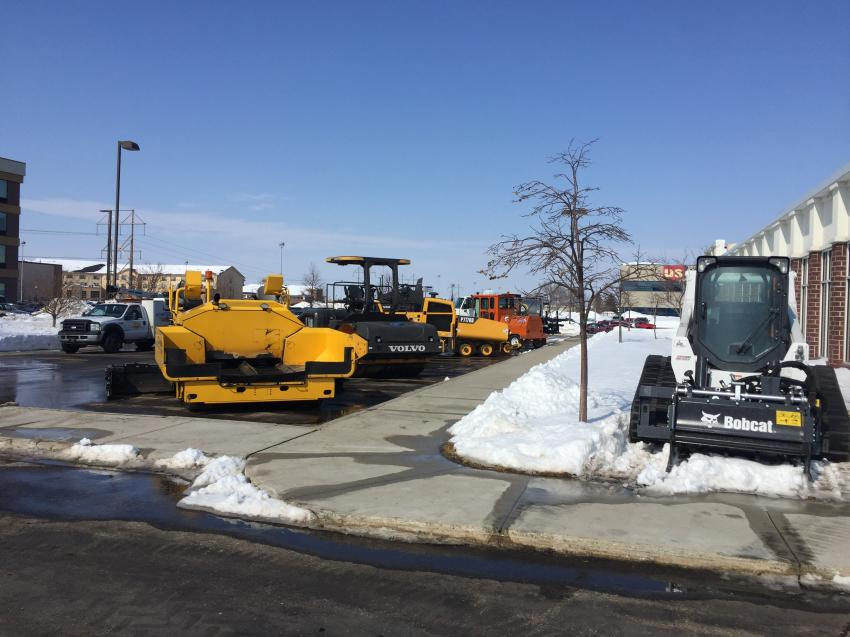 Swanston Equipment staged a display of its product lines outside the Hilton Garden in Fargo, N.D., where it hosted its Asphalt Paving and Compaction Seminar.