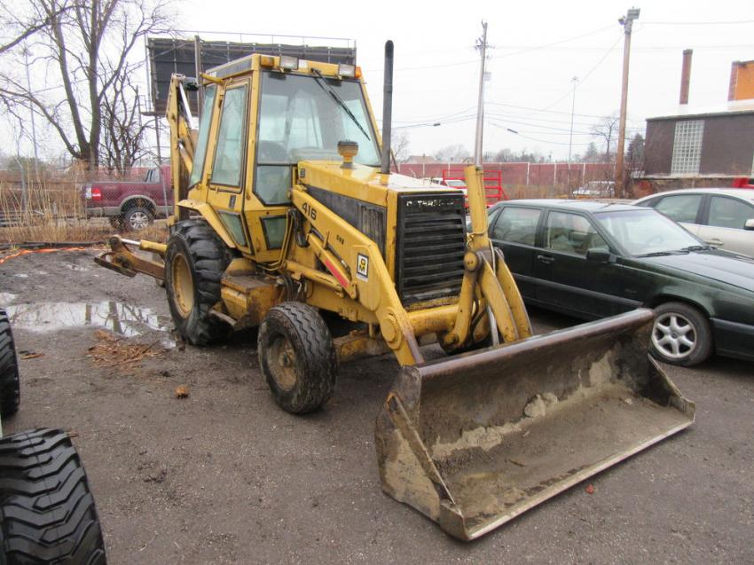 A Caterpillar 416 was one of the backhoes up for bid at the auction.