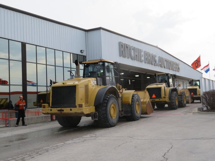 Some of the Cat wheel loaders go over the ramp at the  March 28 sale.