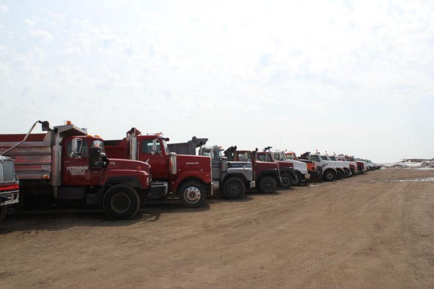 The auction offered a large selection of trucks.