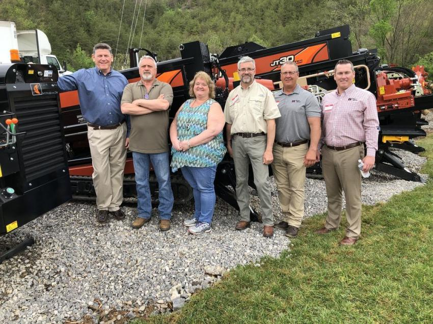 (L-R): Ray Romano, RJV Equipment president, meets with David White and Kath Cross of Star Construction, a subsidiary of Dycom Industries in Knoxville; Chris Alexander, RJV Equipment; and Cory Smith and Tucker Dotson of Ditch Witch.