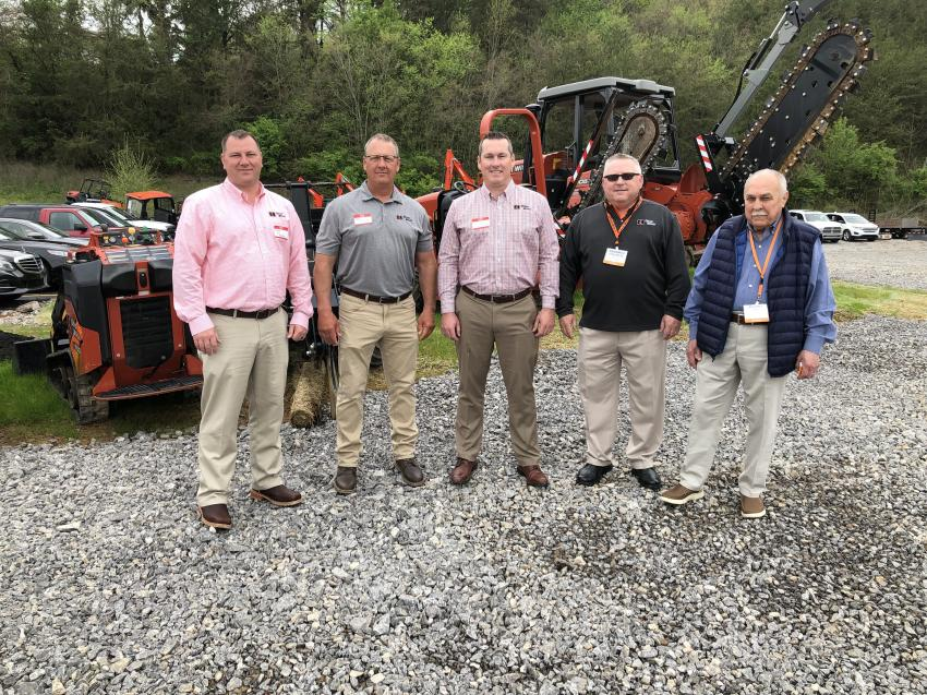 (L-R): Matt Thielke, Corey Smith, Tucker Dotson, Greg Wolfe and Darryl Brown, all of Ditch Witch, gather in front of their company's lineup of products at RJV Equipment's open house.