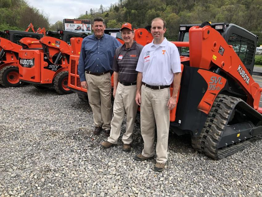 (L-R): Ray Romano, RJV Equipment president, meets with David Bowman and Justin Ferguson of Kubota