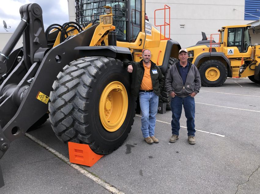 Charles Boley (L) and Denny Whitmire of J.T. Whitmire Grading in Brevard, N.C., came to the event to see the latest Volvo wheel loaders. The L180H also has been upgraded with a new transmission, new converter and revised gear ratio.