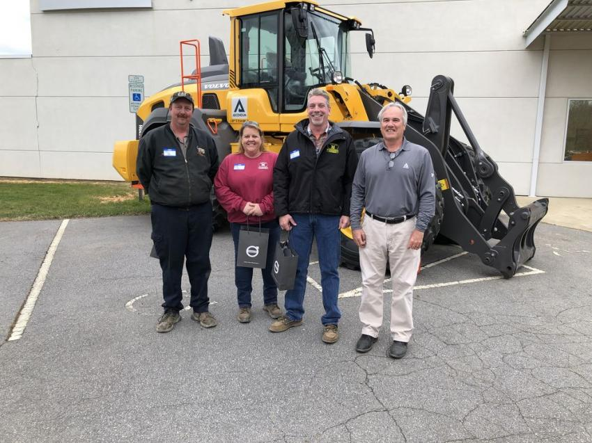 (L-R): Johnny Tate, Crystal Cox and Brian Kirk of Moore & Son Site Contractors chat with Steve Brown of Ascendum Machinery.