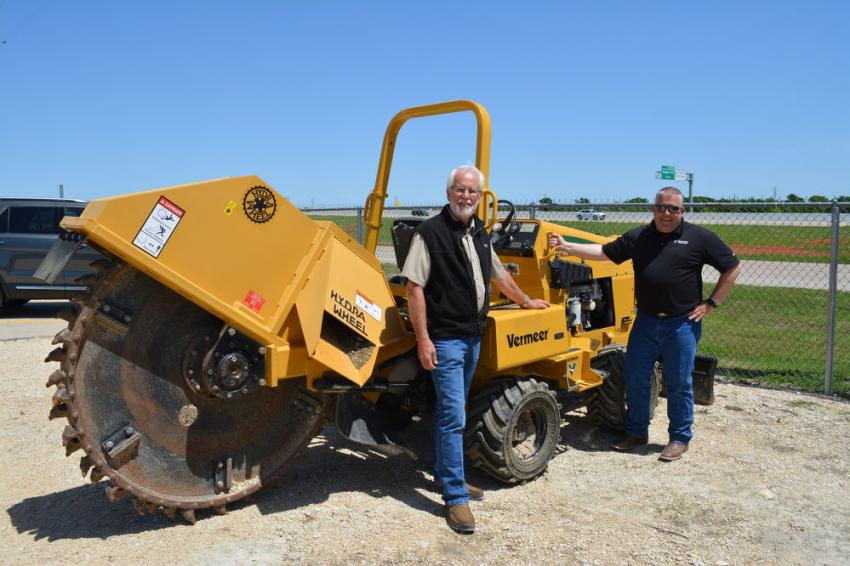 Former Vermeer Texas-Louisiana COO Mark Krueger (L) recently turned over the reins of the company to co-COO's Jason Rush and Brian Harris. Harris was unable to attend the Waco event.