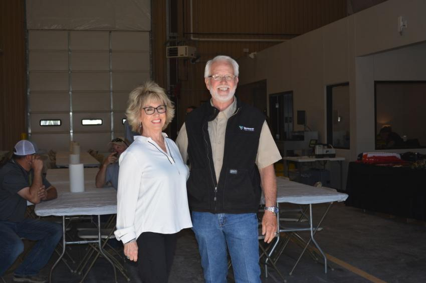 Mark Krueger, former Vermeer Texas-Louisiana chief operating officer and his wife, Glenda, were on hand for the grand re-opening in Waco.