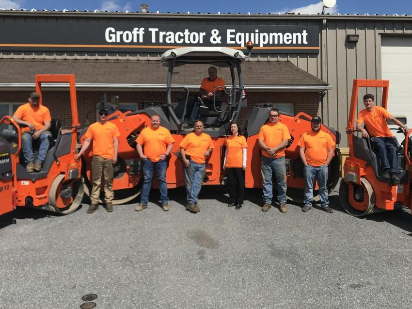 Groff Tractor employees wore safety orange t-shirts on April 10 to show their support of National Work Zone Awareness week. (back row, top): Dale Herbert, parts sales. (L-R, front row): Tyler Kulp, service technician; Jon Porter, service technician; Casey Byrd, service manager; Wayne Merrill, service technician; Eva Bradney, administration assistant; Dale Frankhouser, service technician; Dylan Binkley, parts representative; and Steve Weikert, general manager.