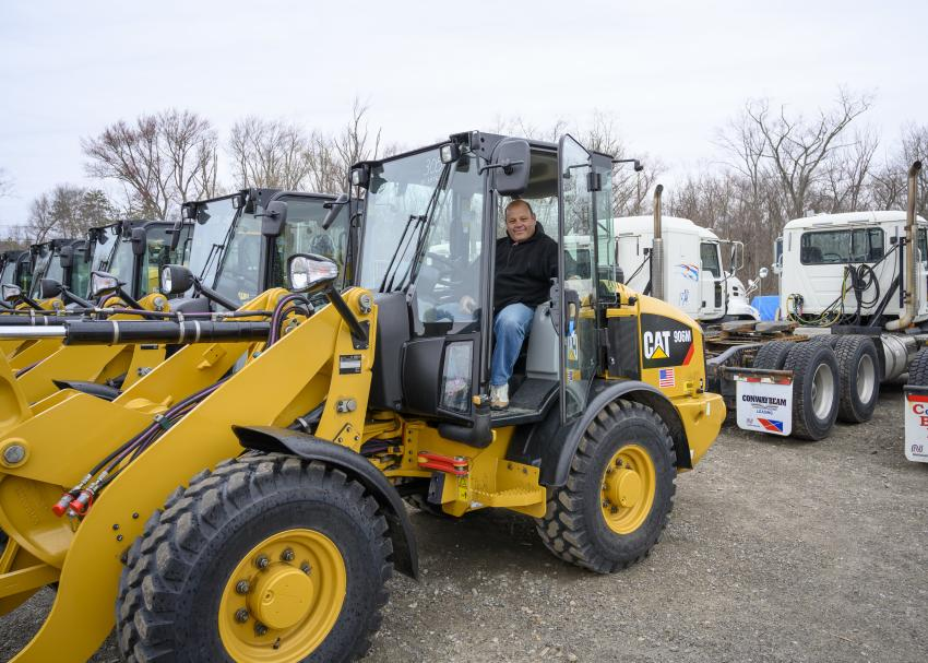 Ray Giard of P&J from Boston, Mass., tests out a 2018 Caterpillar 906M loader.