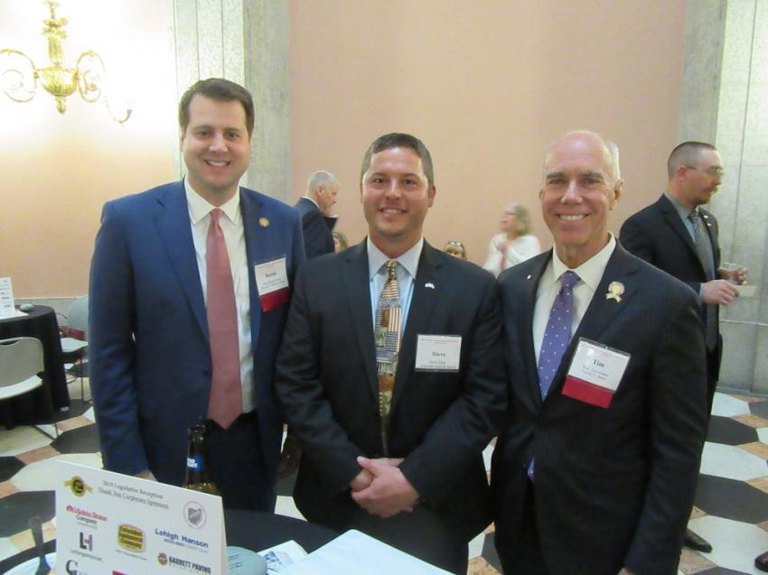 (L-R): State Rep. Derek Merrin, Lakeside Sand & Gravel's Steve Chek and state Rep. Tim Ginter found the reception an excellent opportunity to discuss issues and exchange ideas.