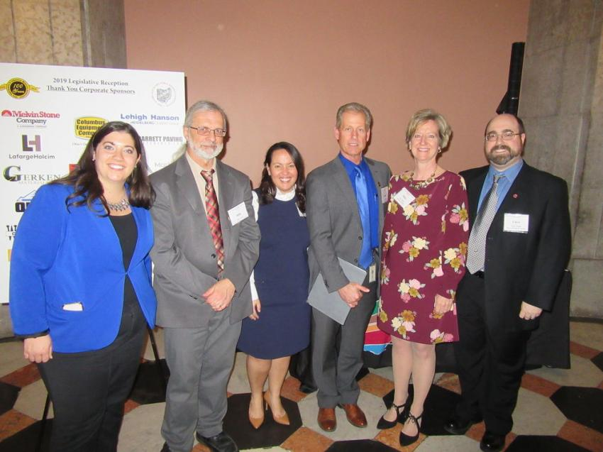 (L-R): Lobbyist Danielle Vandegriff; Mike Angle of the Ohio Geological Survey; Brittney Colvin, Lanny Erdos and Mary Mertz of the Ohio Department of Natural Resources; and Chris Wright of the Ohio Geological Survey provided a wealth of information at the reception.