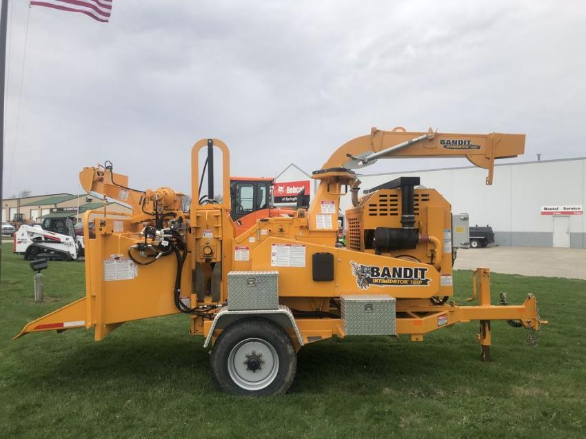 A Bandit Intimidator 18XP chipper makes an imposing  display during the open house. Bandit is one of the many product lines represented by Bobcat of Springfield.